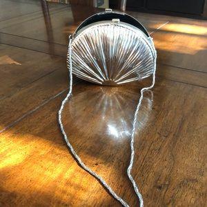 Vintage Sea shell silver dress purse